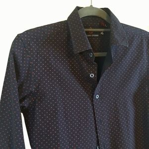 Swiss Cross Long Sleeved Button shirt Blue Red